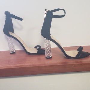 Black Sandal with Clear Heel